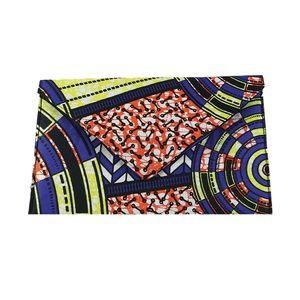 Handbags - African Print Envelope Clutch - Orange Abstract